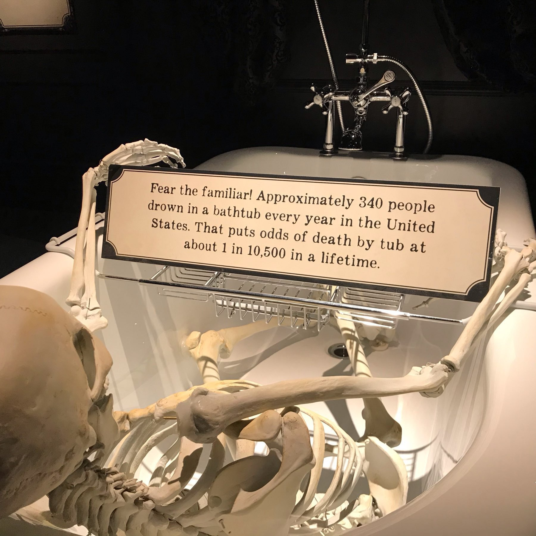 A skeleton holds a sign up that reads: Fear the familiar! Approximately three hundred forty people drown in a bath tub every year in the United States. That puts odds of death by tub at about one in ten thousand five hundred in a lifetime