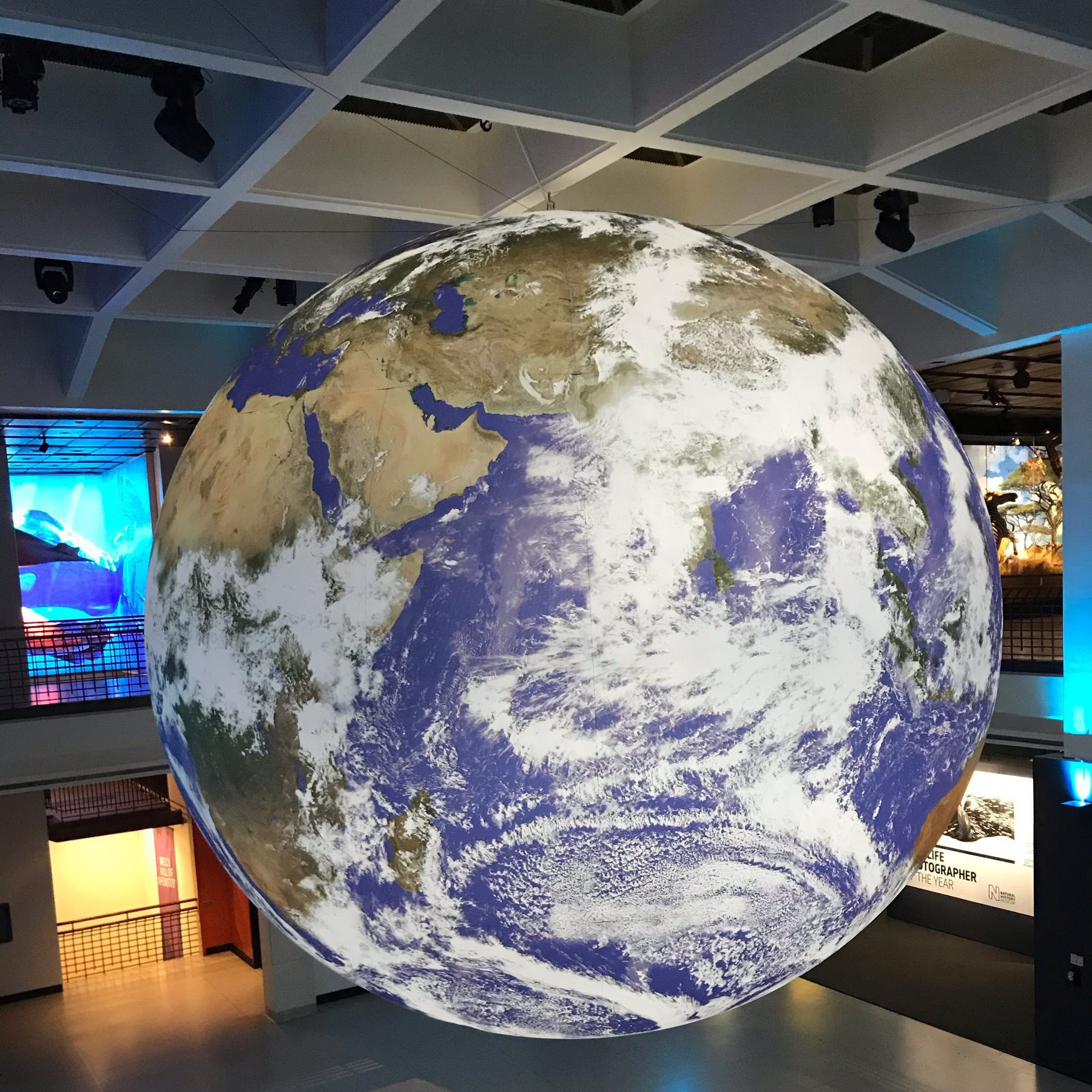 image of a large suspended replica of the planet earth